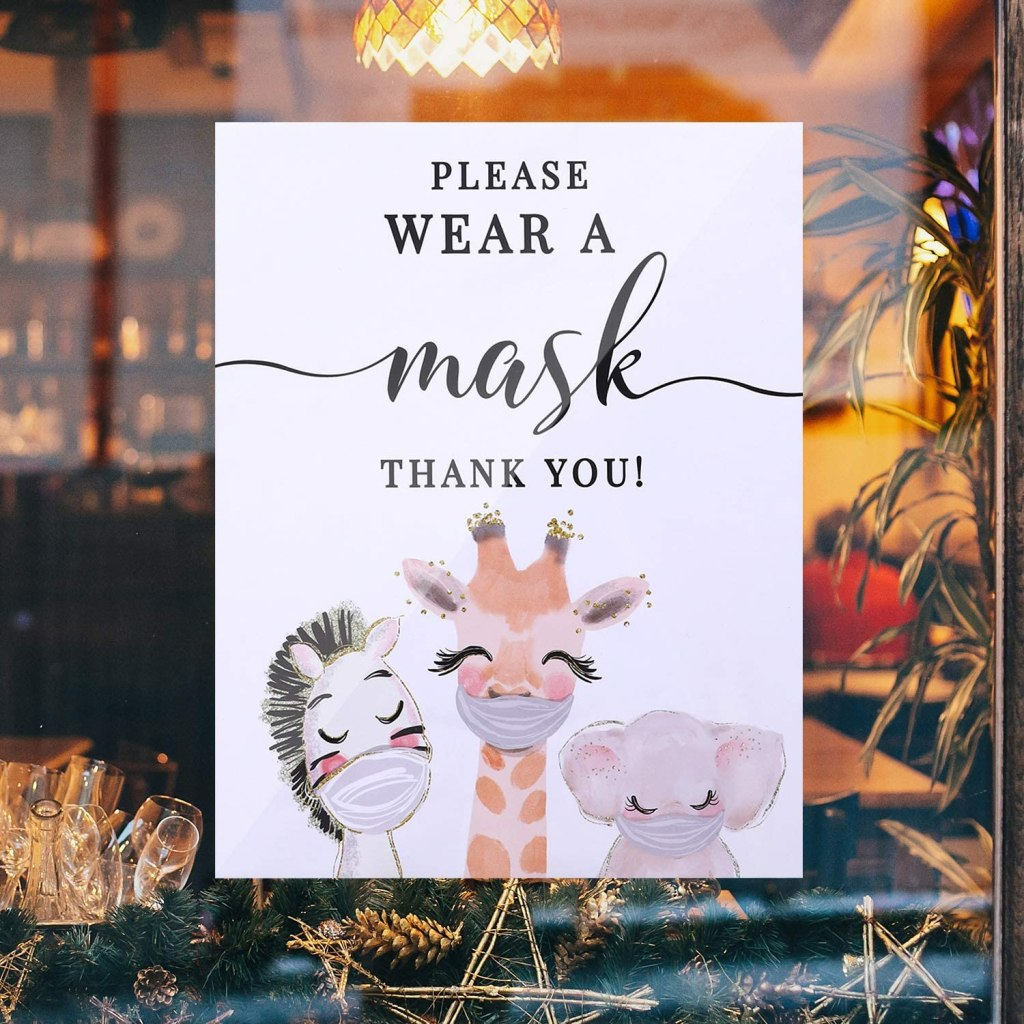 face mask, sign, animals, required, business, amazon