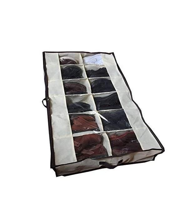 See Through Underbed Shoe Storage Bag Organizer,