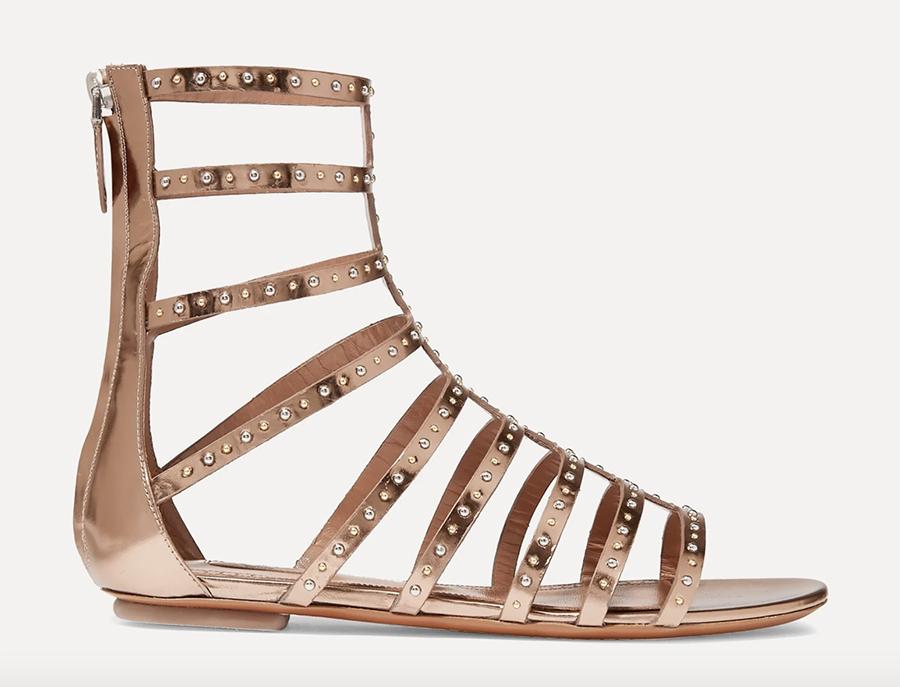 alaïa, sandals, gold, gladiator