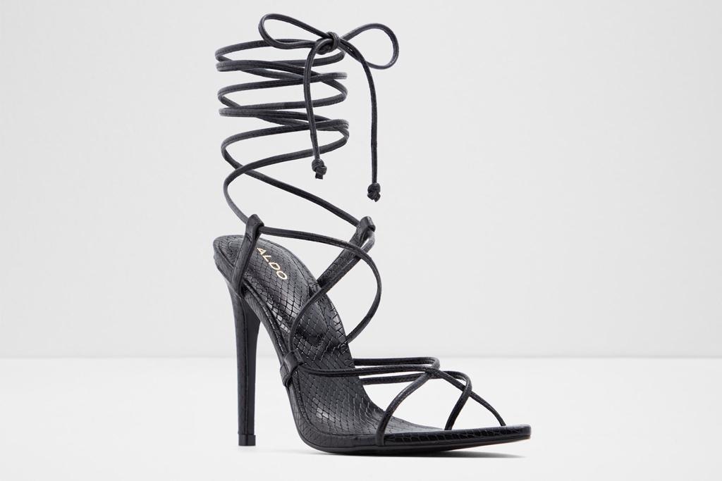 aldo, heels, sandals, strappy, black