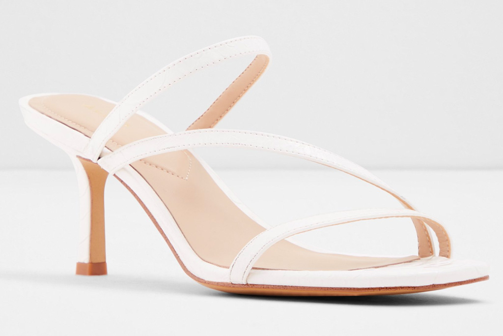 sandals, white, square toe, strappy, heels