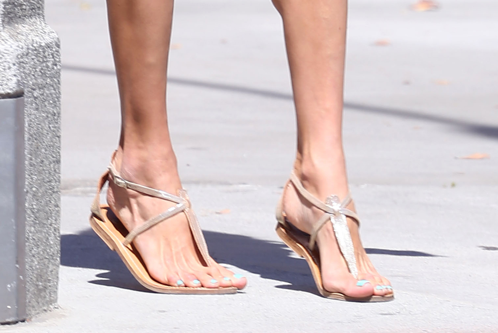 Alessandra Ambrosio, thong sandals, k. jacques shoes, pedicure, feet, celebrity style, shoes, los angeles, legs,