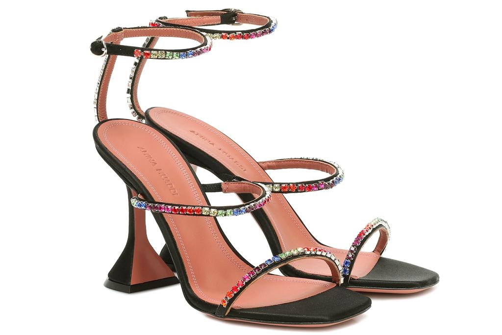 amina muaddi, heels, flared heel, sandals, pumps, glitter