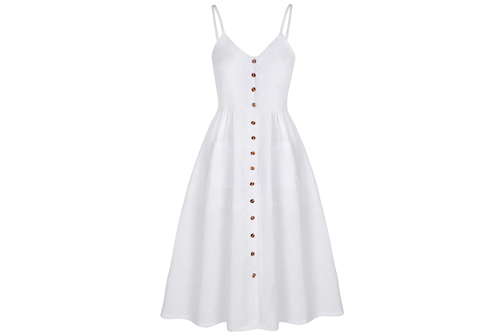 angashion, dress, white, flowy, amazon