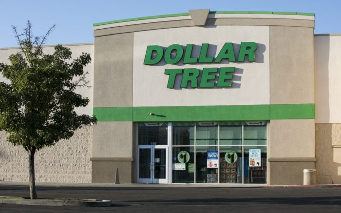 A logo sign outside of a Dollar Tree retail store location in Orem, Utah on July 29, 2019. (Photo by Kristoffer Tripplaar/Sipa USA)(Sipa via AP Images)