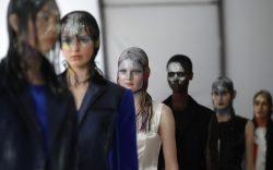 A model wears a creation as
