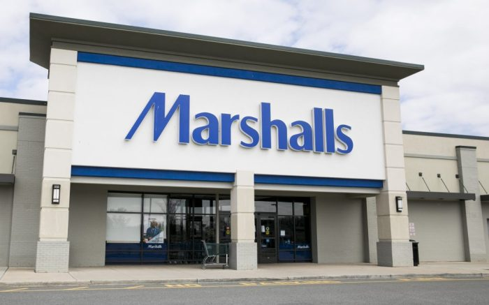 marshalls store, new jersey, A logo sign outside of a Marshalls retail store location in East Hanover, New Jersey, on March 23, 2020. (Photo by Kristoffer Tripplaar/Sipa USA)(Sipa via AP Images)