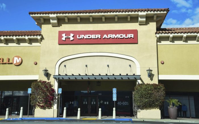 March 17, 2020: Closed Under Armour retail stores at the outdoor mall Cabazon Outlets are open but largely empty due to Covid-19 Corona virus in Cabazon, California John Green/CSM(Credit Image: © John Green/CSM via ZUMA Wire) (Cal Sport Media via AP Images)