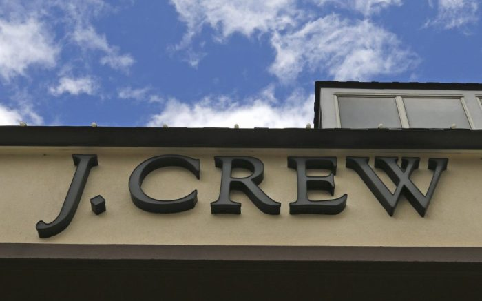 Clouds and blue skies are visible over the J.Crew store, closed due to the COVID-19 virus outbreak, in Tilton, New Hampshire, Monday, May 4, 2020. The owner of J.Crew is filing for bankruptcy protection, the first major retailer to do so since the pandemic forced the closing of most stores in the United States. More retail bankruptcies are expected in coming weeks with the doors of thousands of stores still locked. (AP Photo/Charles Krupa)
