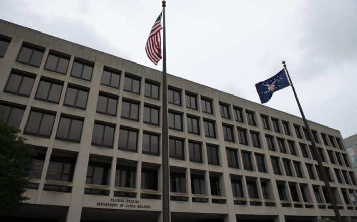 A general view of the U.S. Department of Labor in Washington, D.C., on May 28, 2020 amid the Coronavirus pandemic. This week marked 100,000 confirmed COVID-19 deaths in the United States, as outbreaks accelerated in more than a dozen states and many countries across the global south according to reports. (Graeme Sloan/Sipa USA)(Sipa via AP Images)