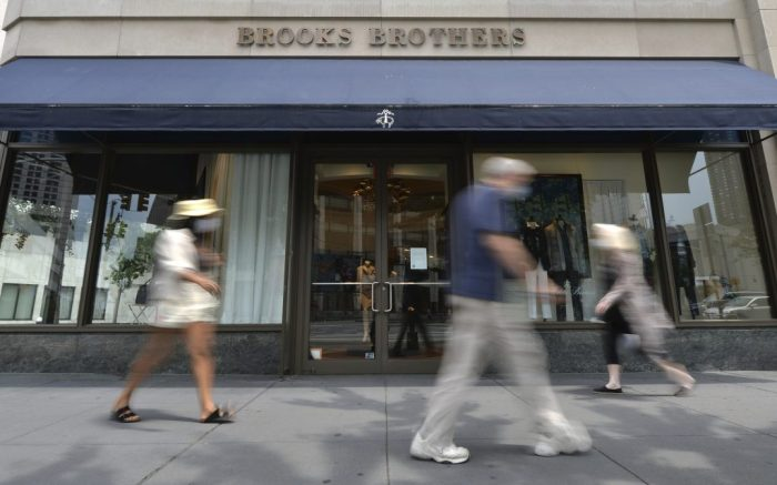Brooks Brothers, a 200-year old fashion luxury apparel retailer, announced that it has filed for Chapter 11 bankruptcy, a victim of the economic effect of the Coronavirus pandemic, New York, NY, July 8, 2020. Founded in 1818, Brooks Brothers said they are permanently closing 200 retail stores in North America and 500 worldwide, joining other retails brands such as J.C. Penney, Neiman Marcus, J. Crew in filing for Chapter 11 due to COVID-19 pandemic. (Anthony Behar/Sipa USA)(Sipa via AP Images)