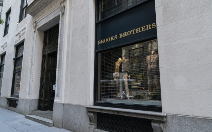 View of Luxury apparel retailer Brooks Brothers store in Manhattan New York on July 13, 2020. Brooks Brothers has filed for Chapter 11 bankruptcy because of COVID-19 pandemic. Company plans to shutt down stores and is pursuing a sale. (Photo by Lev Radin/Sipa USA)(Sipa via AP Images)