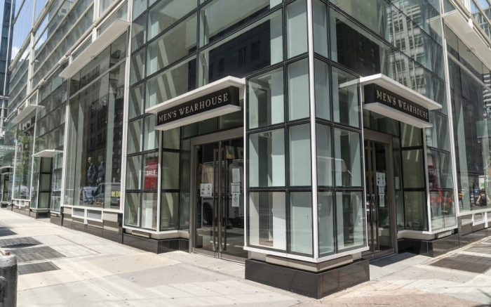 View of Men's Wearhouse in Manhattan in New York on July 22, 2020. Tailored Brands which owns it will close hundreds of stores across the country. Tailored Brands also reducing its corporate workforce. All of this due to the Covid-19 pandemic. According to company release sales have been declining in reopened stores. (Photo by Lev Radin/Sipa USA)(Sipa via AP Images)