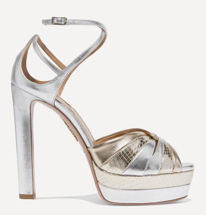 aquazzura, heels, silver, platform