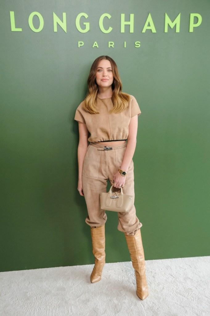 ashley benson, style, fashion week, fall, dress, pants, paris