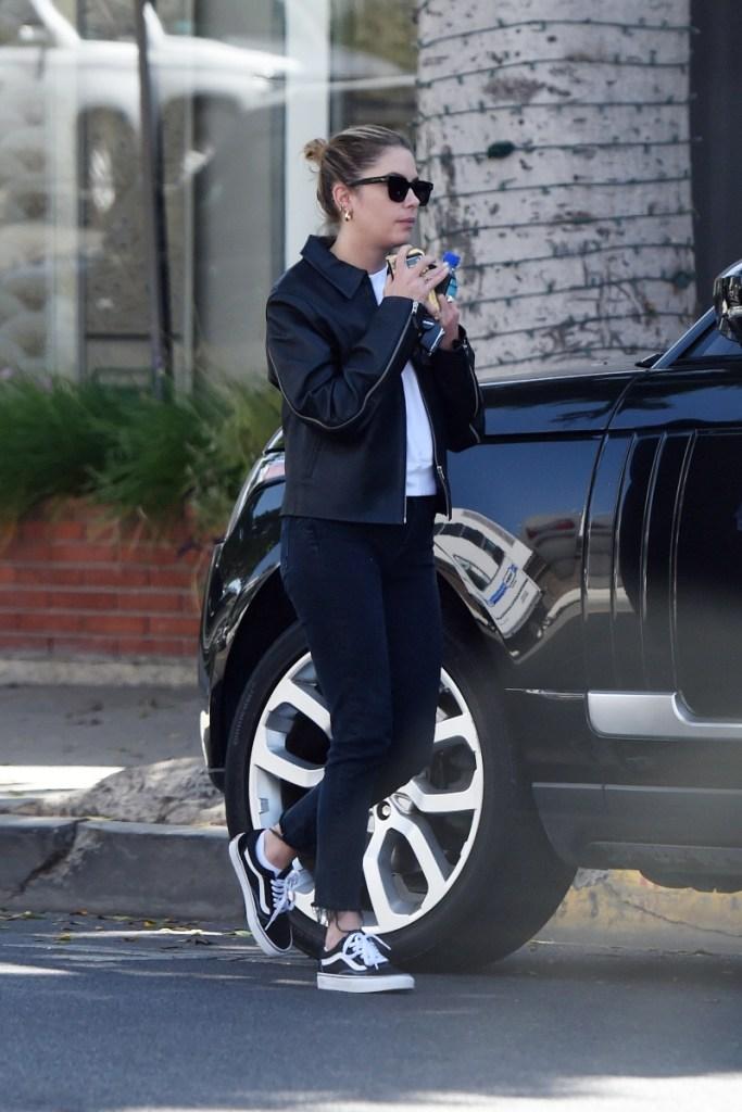 ashley benson, sneakers, vans, los angeles, black, jeans, jacket, leather jacket
