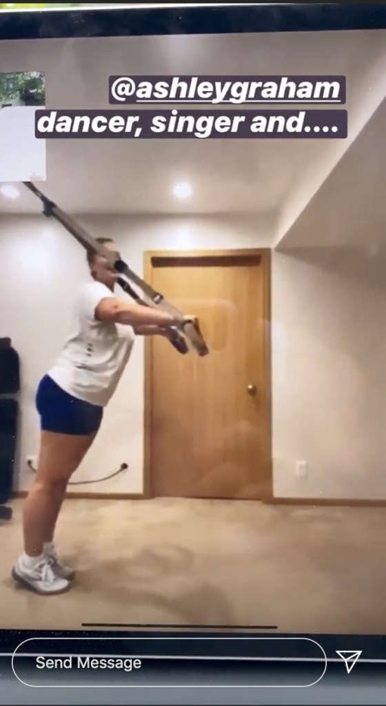Ashley Graham, lululemon bike shorts, white sneakers, instagram stories, workout
