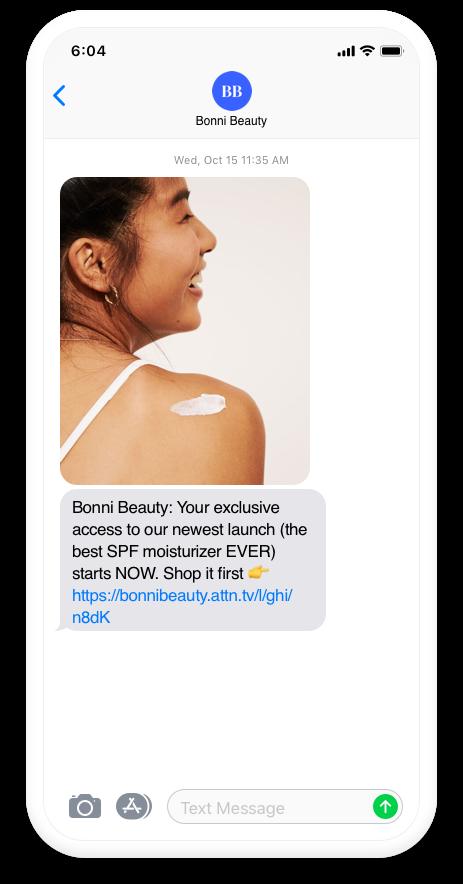 Attentive Mobile Screenshot of Brand Communication