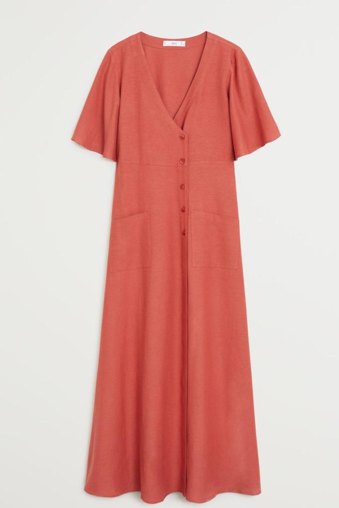 mango linen dress, best linen dress, red summer dress