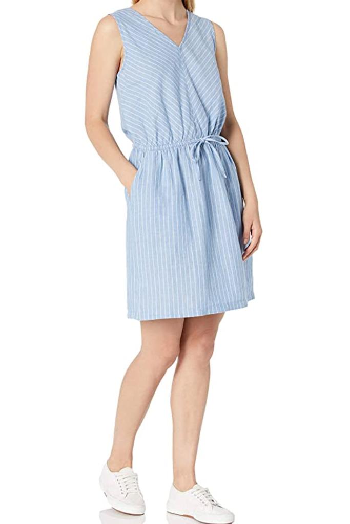 best linen dress, amazon dress, blue linen dress