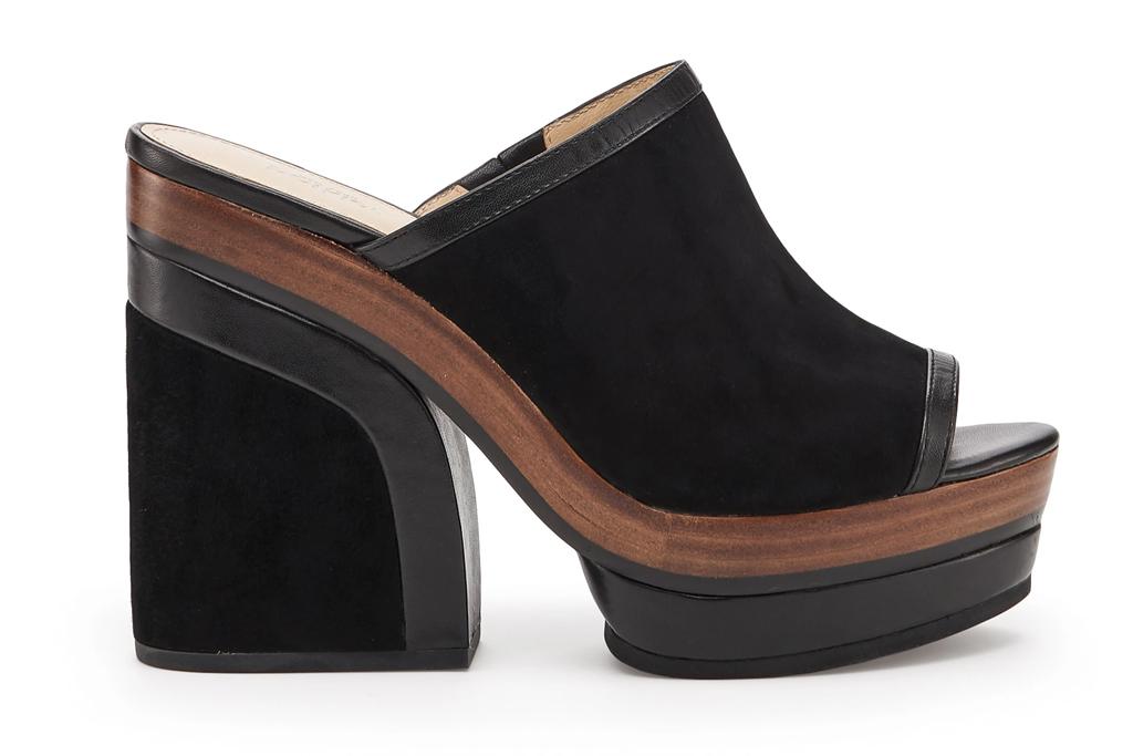 botkier, black, platform, wedge, heel, peep toe, mule