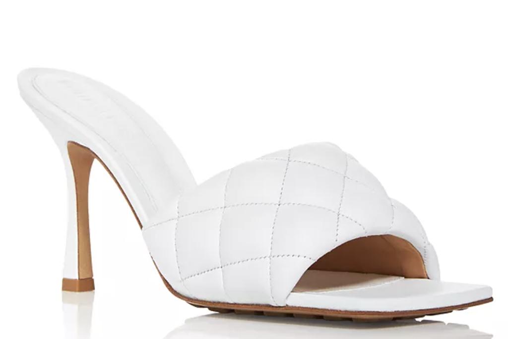 Bottega Veneta, square-toe shoes, quilted sandals
