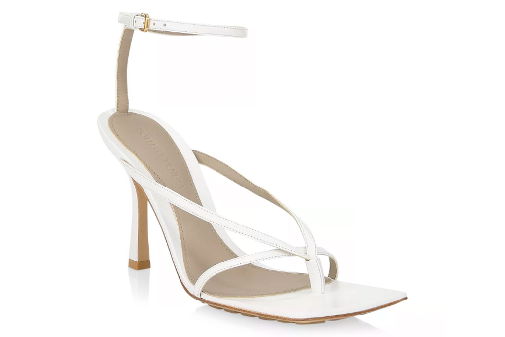 Bottega Veneta Stretch leather sandals, white, thong toe, square toe