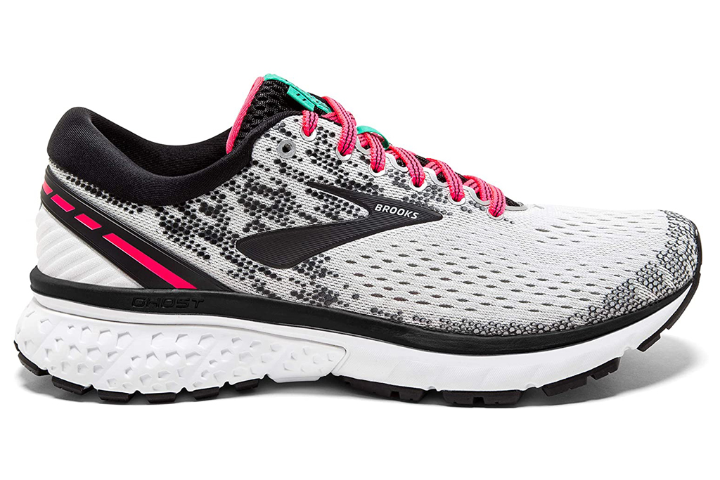 brooks, running shoes, pink, white, black