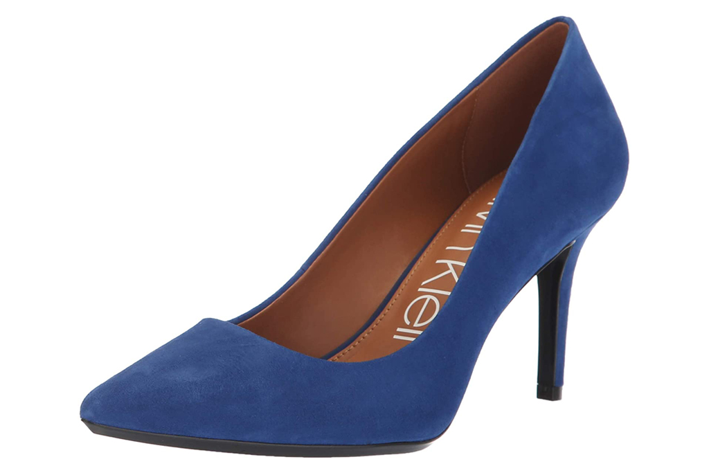 calvin klein, blue pumps, suede