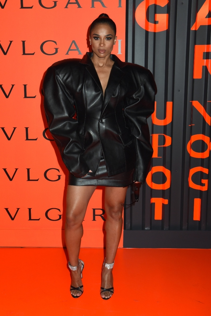 ciara, Bvlgari x B.Zero1 Rock Collection debut party, black dress, giuseppe zanotti heels