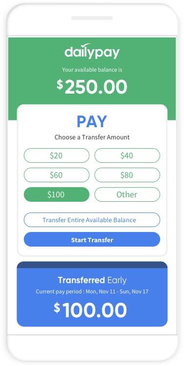 Screenshot of Daily Pay App showing Pay Deposit Screen