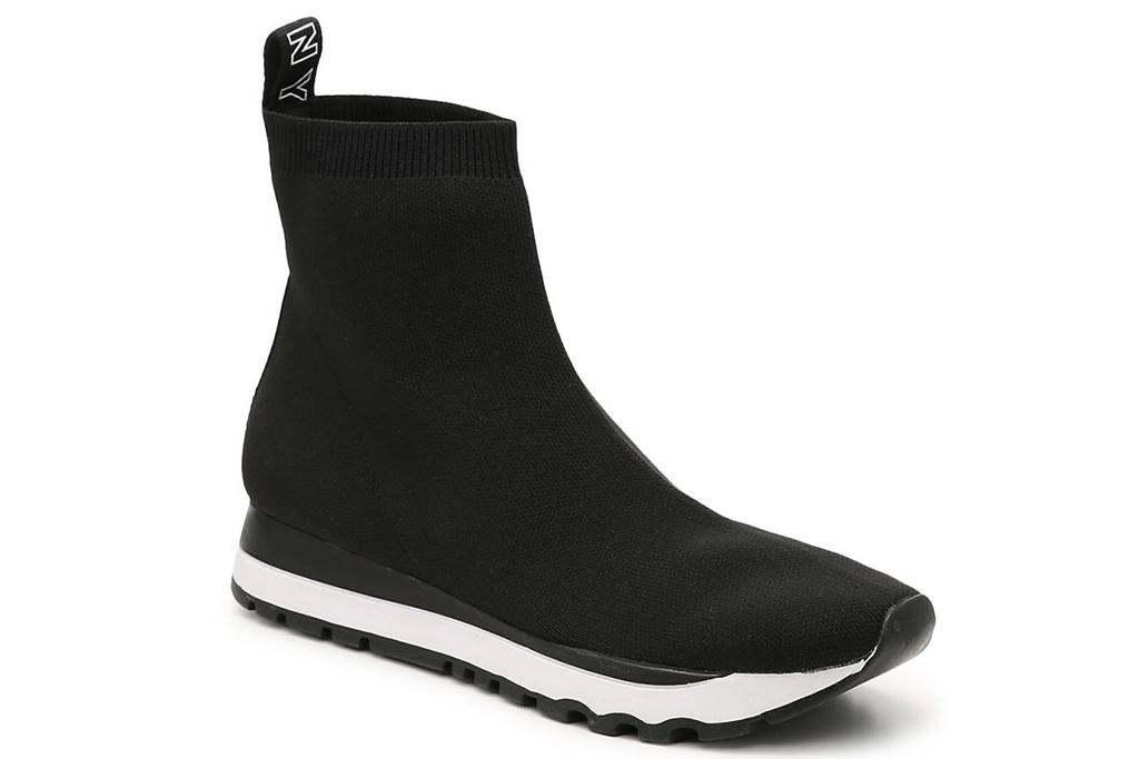 dkny, black, white, sneakers, sock style