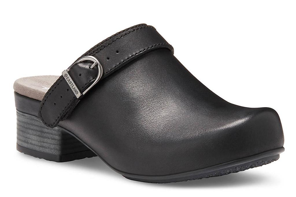 Eastland, black leather clog