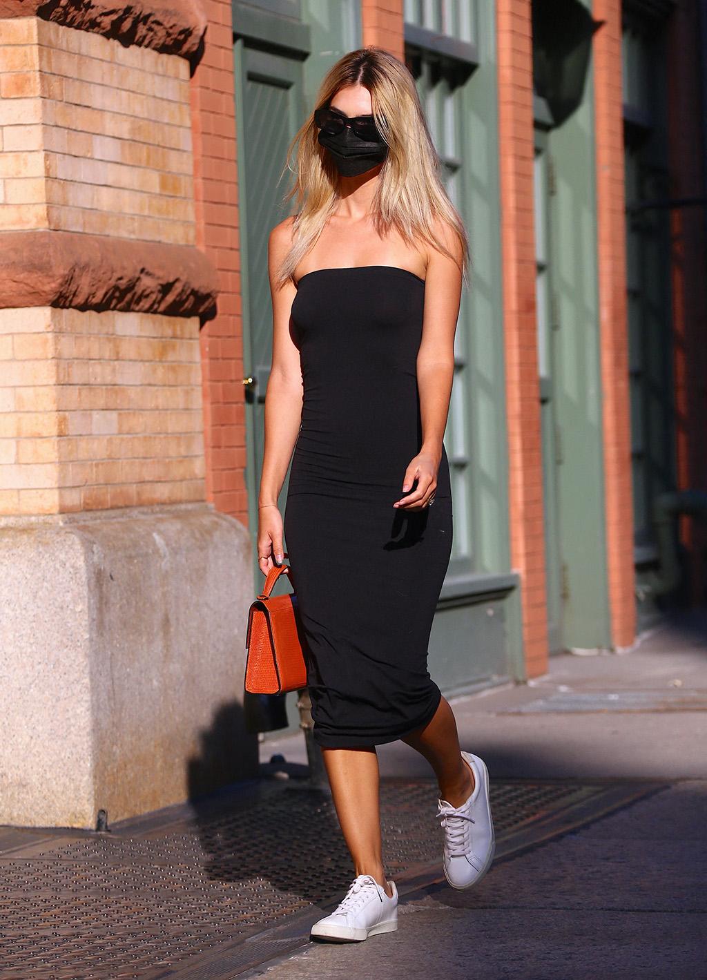 Bodycon Black Dress and Veja Sneakers