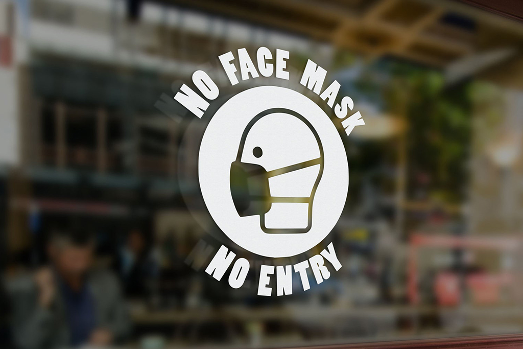 face mask decal, face mask sign, covid-19 sign