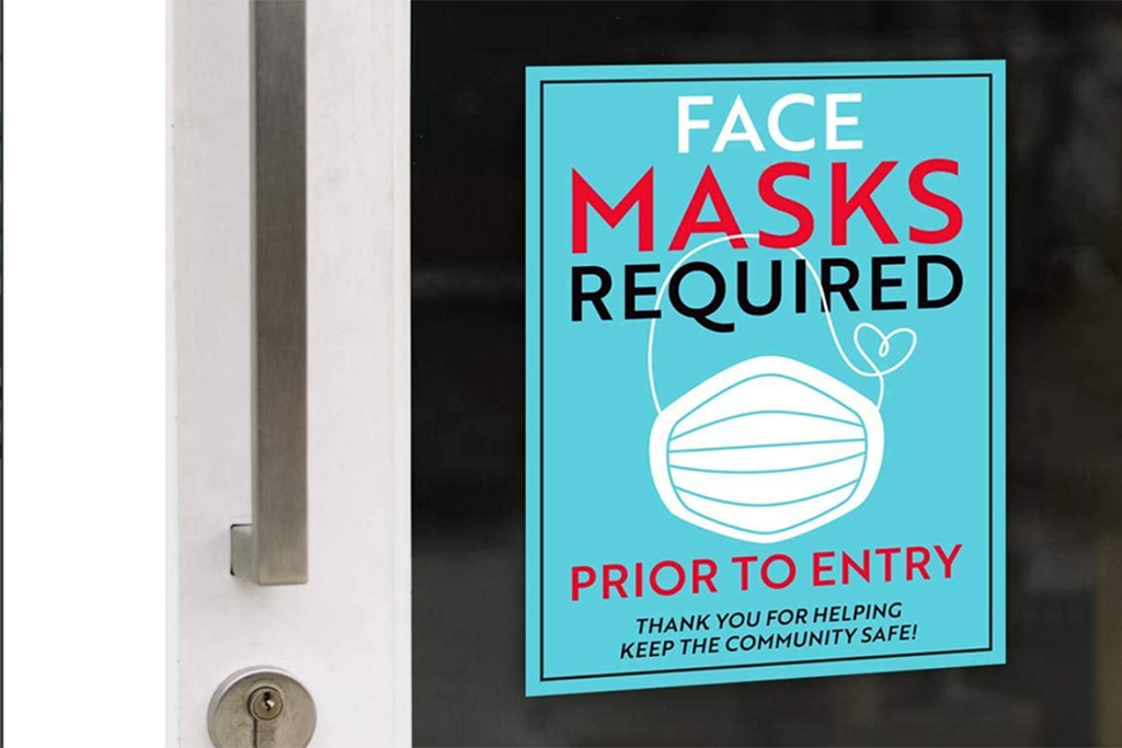 face mask sign, covid-19 sign, amazon signn