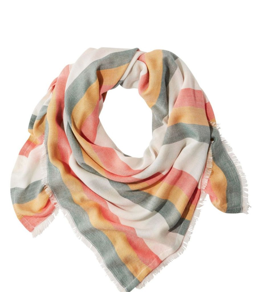 fashionable face coverings, l.l. bean, striped scarf