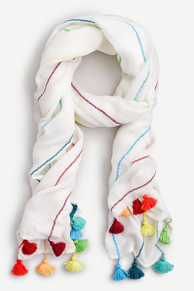 j. crew scarf, fashionable face covering, rainbow scarf