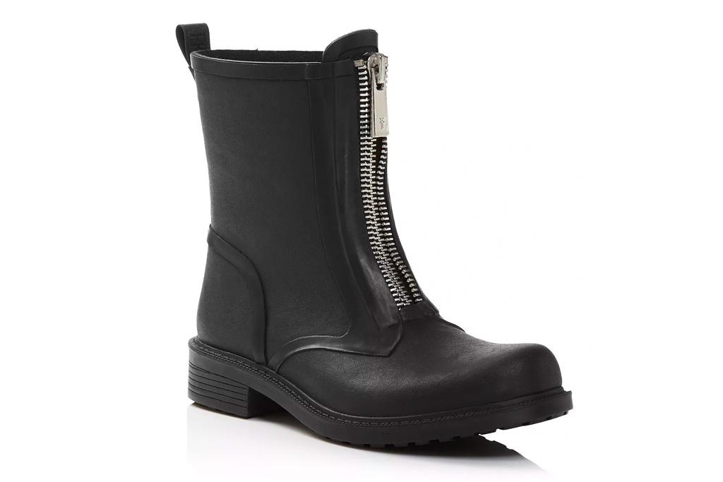 frye, black boots, zip front