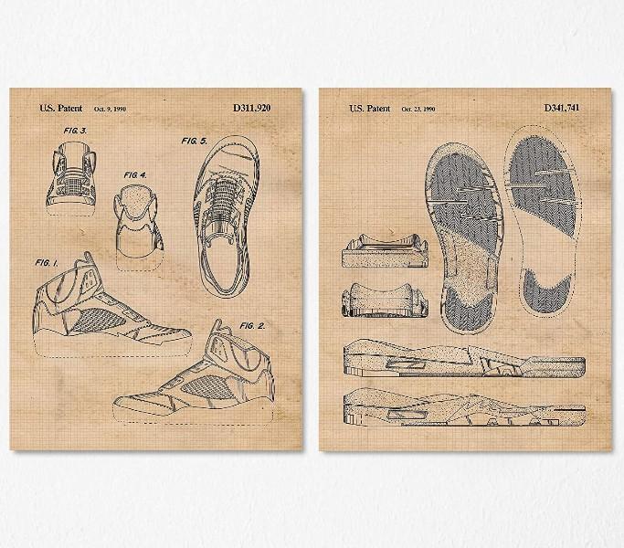 Vintage Nike Air Jordan 5 Patent Poster Prints