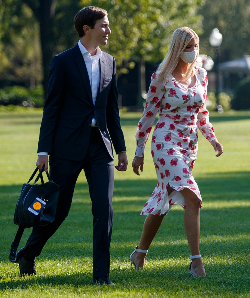 ivanka trump, altuzarra dress, poppy dress, gianvito rossi sandals, white heels, face mask, Marine One (R), with US President Donald J. Trump aboard, approaches the South Lawn for a landing at the White House in Washington, DC, USA, 26 July 2020. President Trump is returning to Washington after spending the weekend at his club in Bedminster, New Jersey. Credit: Shawn Thew / Pool via CNP. 26 Jul 2020 Pictured: Senior Advisor to the President Jared Kushner (L) and Ivanka Trump walk to the South Portico after stepping off Marine One on the South Lawn of the White House in Washington, DC, USA, 26 July 2020. President Trump is returning to Washington after spending the weekend at his club in Bedminster, New Jersey. Credit: Shawn Thew / Pool via CNP. Photo credit: Shawn Thew - Pool via CNP / MEGA TheMegaAgency.com +1 888 505 6342 (Mega Agency TagID: MEGA690994_005.jpg) [Photo via Mega Agency]