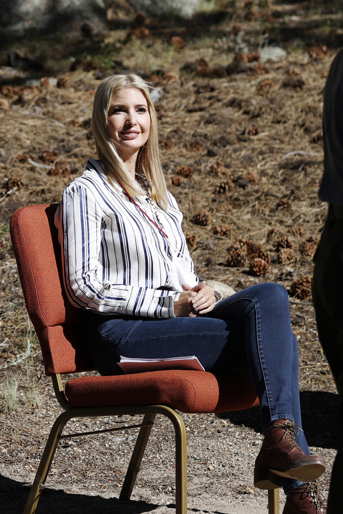 Ivanka Trump, rocky mountain national park, skinny jeans, striped blouse, combat boots, colorado, first daughter