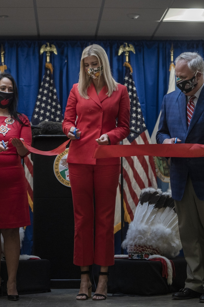 Ivanka Trump, wedges, red suit, sandro pantsuit, celebrity style, face mask, ribbon cutting,