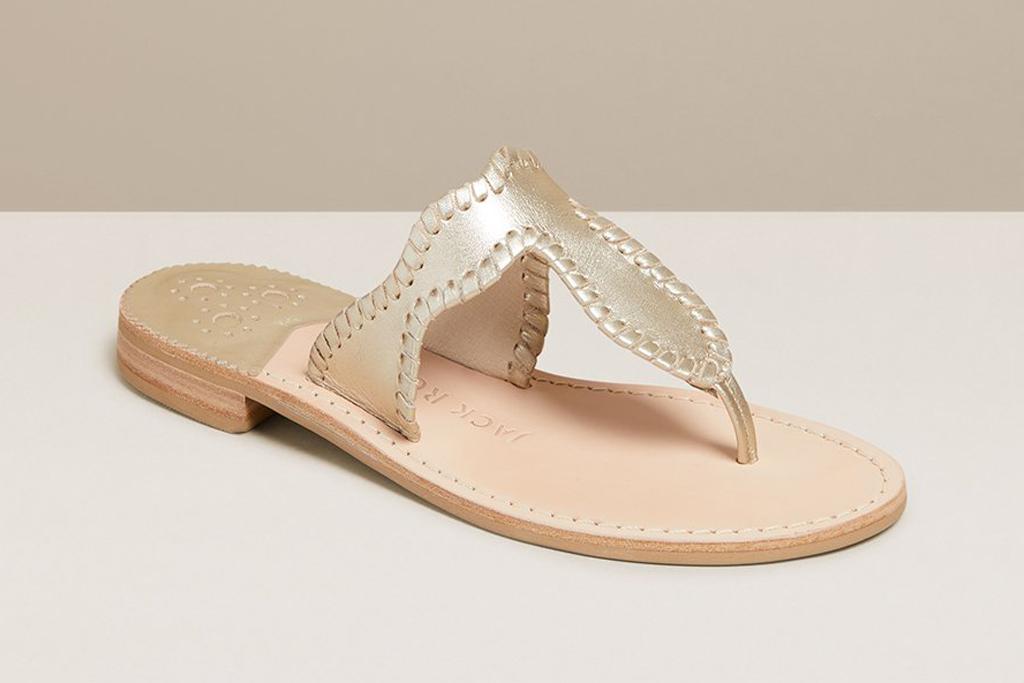 jack rogers, sandals, slides, gold