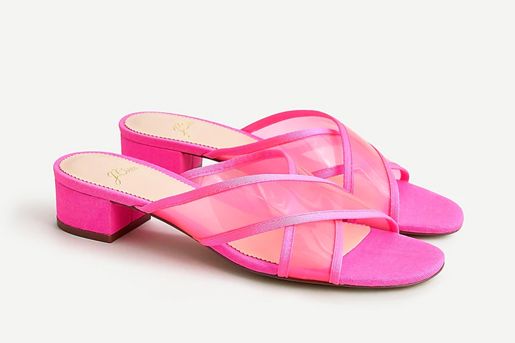 j. crew sale, j. crew shoes, hot pink mules