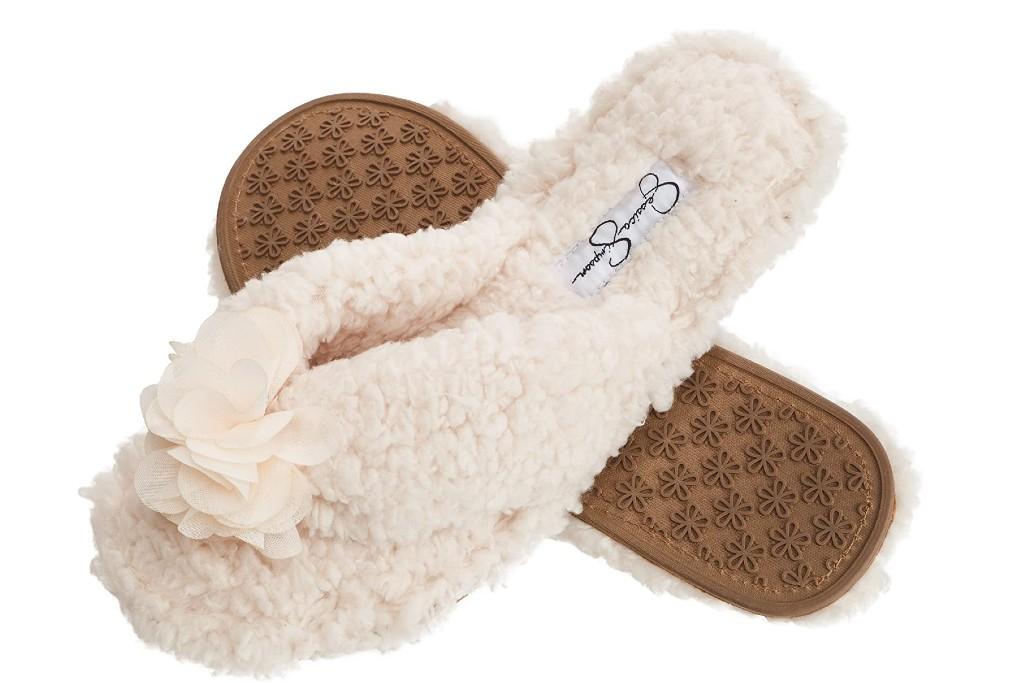 jessica Simpson Women's Fluffy Pom Thong House Slide on Slippers