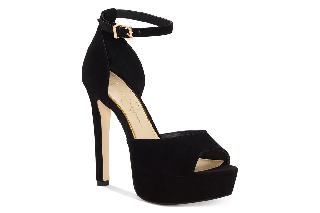 jessica simpson, platform, peep toe, heels, black