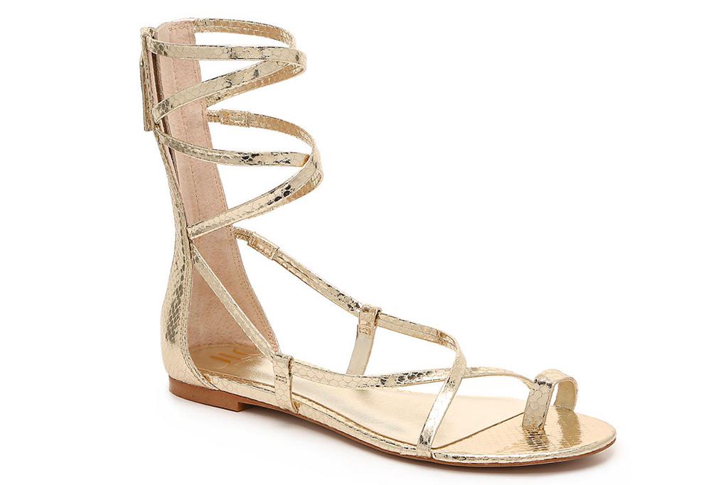 jlo, jennifer lopez, dsw, gold sandals, gladiator sandals