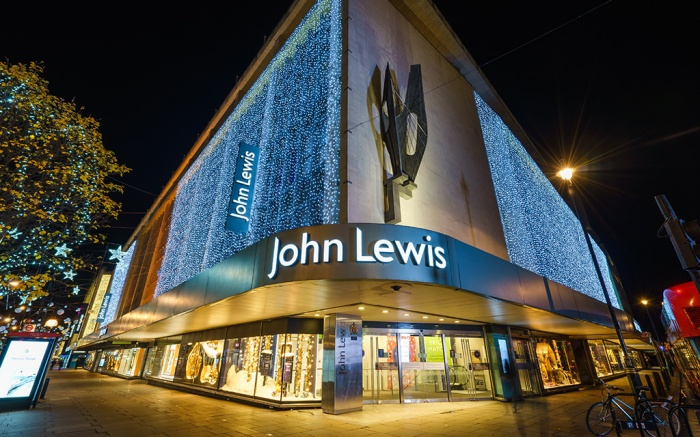 LONDON,ENGLAND - DECEMBER 16,2016: John Lewis department store exterior at Oxford street with wall of lights as part of its Christmas decorations; Shutterstock ID 544558078; Usage (Print, Web, Both): Web; Issue Date: 7.20