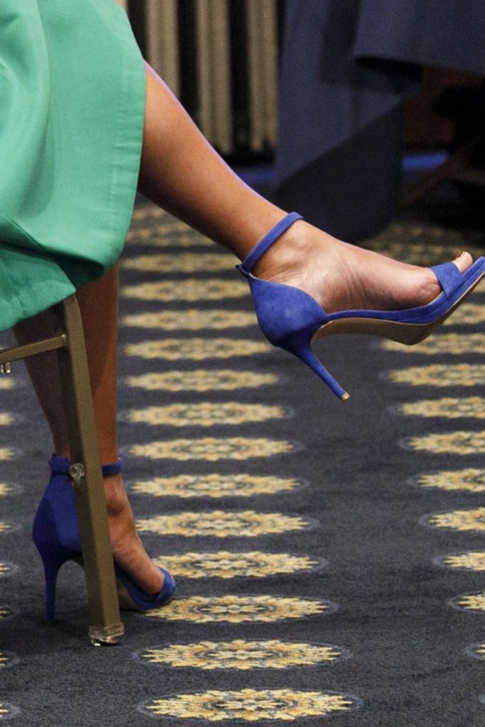 Karen Pence, indigo sandals, heels, celebrity, shoe detail,